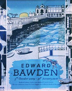 Palace Pier, Brighton: Exhibition Poster for the artist Edward Bawden Graphic Design Illustration, Illustration Art, Graphic Art, Postcard Art, Exhibition Poster, Shops, Cartoon Drawings, Letter Art, Brighton