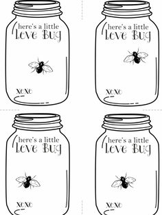 """Valentine's Love Bug Cards - Free printable Empty jar - ready to """"fill"""" as you wish - tape on a fake rubber bug or felt hearts. brought to you by lola decor & FYLM FREE! Valentines Day Activities, Valentine Day Crafts, Kids Valentines, Paper Hearts, Felt Hearts, Mason Jar Cards, Mason Jars, Printable Cards, Printables"""