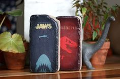 BOOKENDS Jaws and Jurassic Park  Repurposed by TheGnakedGnome, $38.00
