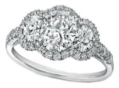 Engagement Ring - Three Stone Oval Diamond Halo Engagmeent Ring 1.14 TCW in 14K White Gold - ES1172