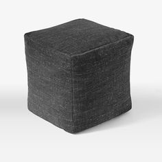 """Special Order Pouf - 16""""sq. (6-8 Week Delivery)   west elm - Heathered Tweed Charcoal"""