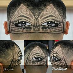 Fade with a detailed tribal eye design performed by @loe_vale www.nationalbarbersassociation.com