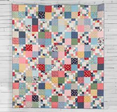 Boundless 1930s Delights Fabric & Scrappy Chain Pattern Quilt Kit - on…