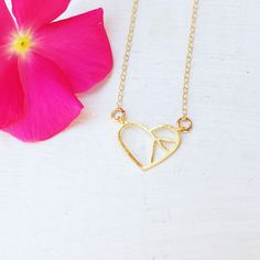 gold geometric heart necklace
