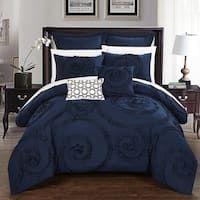 Shop Chic Home 13-Piece Adana Teal Bed in a Bag Comforter Set - Overstock - 18038296 Ruffle Comforter, Queen Comforter Sets, Navy Bedding, Modern Bedding, Navy Blue Comforter Sets, Luxury Bedding Sets, King Beds, Queen Beds, Khadra