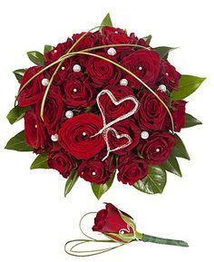 Brudebukett med røde roser