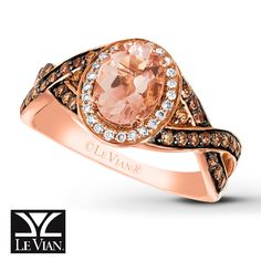The soft color of an oval Peach Morganite™ is brought out by contrasting Vanilla Diamonds® and rich Chocolate Diamonds® in this pretty ring from Le Vian®. Crafted of 14K Strawberry Gold®, the ring has a total diamond weight of 3/8 carat. Le Vian®. Discover the Legend. Diamond Total Carat Weight may range from .37 - .44 carats. Morganite has been treated to permanently create its color. Gently clean by rinsing in warm water and drying with a soft cloth a...