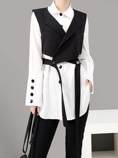 Mode Outfits, Fashion Outfits, Womens Fashion, Vest Outfits, Stil Inspiration, Suit Vest, Dress Vest, Blouse Dress, One Piece Swimwear