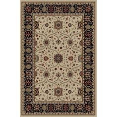 Threadbind Jewel Voysey Ivory Floral Area Rug Rug Size: