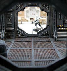 couloir_kit_alien_nostromo_bostal__6 Game Terrain, 40k Terrain, Wargaming Terrain, Star Wars Miniatures, Sci Fi Miniatures, Decoration Star Wars, Star Wars Decor, Maquette Star Wars, Spaceship Interior