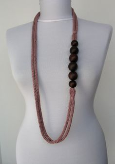 Knit Necklace, but design could be used for i cord and clay or wood beads