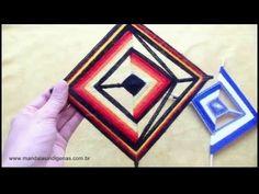 DIY Tutorial - Yarn Decoration Inspired by Ancient Ojo de Dios Mandala Folk Art (God's Eye) - YouTube