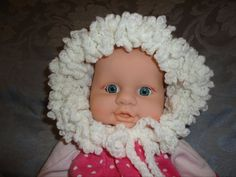 White Ruffled Baby Bonnet I made