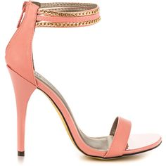 Michael Antonio Women's Jahan - Peach PU found on Polyvore featuring polyvore, women's fashion, shoes, sandals, heels, pink, strap heel sandals, pink heel sandals, pink high heel sandals and high heel shoes