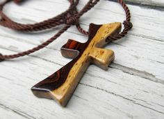 Men's Cross Necklace  Kingwood & Zebrawood by TheLotusShop, $16.95