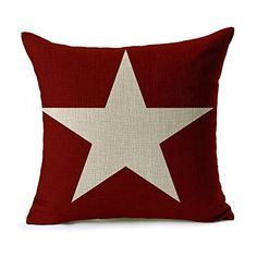 CoolDream 18x18 Inch Cotton Linen Decorative Throw Pillow Cover Cushion Case, Flag Stars Galaxy Red Star