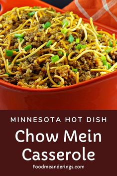 This Chow Mein Casserole is also known by the name Minnesota Hotdish. It's a mid-western classic comfort food made with ground beef and rice with creamy soup and a crunchy chow mein noodle topping. It comes together quickly or can be made ahead and frozen! #casserole #groundbeef #rice #creamsoup #hamburger #chowmein #chowmeinnoodles #hotdish #minnesota #midwest #midwestern