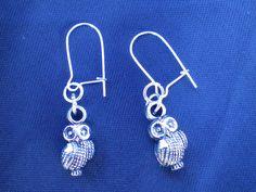 Cute little owl earrings, Antique silver charms, owl charms, silver owls, bird charms, bird earrings, dangle earrings, boho jewellery