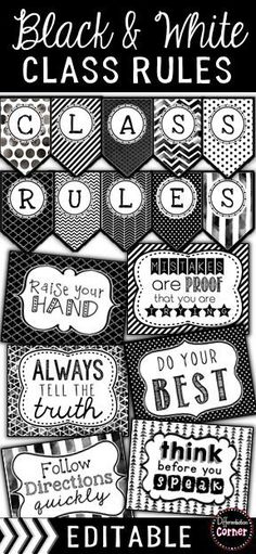 Black and White Classroom Decor Rules Editable Classroom Rules and inspirational posters and banner set in a modern black and white theme . Classroom Rules Poster, Classroom Banner, Classroom Decor Themes, Classroom Design, Middle School Posters, Middle School Classroom, 2nd Grade Classroom, Modern Classroom, New Classroom