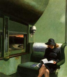 """peinture US : Edward Hopper, """"compartiment C, wagon 193"""", 1938, femme, train, intérieur, transports, vert, 1930s"""