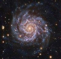 Een voorbeeld van een spiraalstelsel, M74.