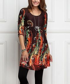 Look at this #zulilyfind! Brown Paisley Empire-Waist Tunic Dress - Plus Too by R&B #zulilyfinds