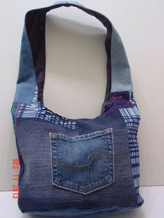 Denim Upcycled Slouch Bag Boho Bag Hobo by BilliesBagsandThings, $20.00