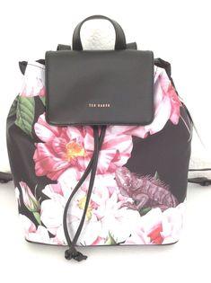 2f1c7c708d2f TED BAKER LONDON Iguazu Floral Nylon Travel Backpack Rugsack Black Bag   TedBaker  Backpack