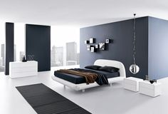 Bedroom, Bright Bedroom Design With Simpe Bed Which Has Black Pillows Black Bed Linen Black Blanket And White Floor Made From Marble: Amazing Minimalist Interior Design Ideas for Your Bedroom