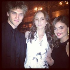 Keegan Allen, Troian Bellisario and Lucy Hale