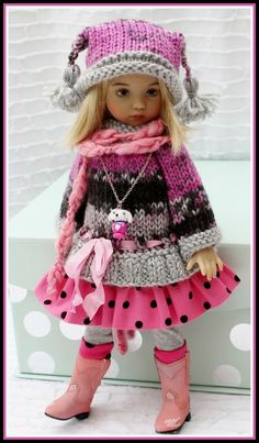 Fall Sweater Dress Outfit + Boots 8 PC for 13 Effner Little Darling by Barbara
