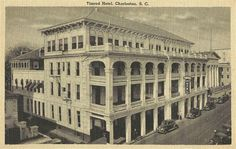The Timrod Hotel (top), formerly the Commerce Club, was fashioned from four adjoining homes on Meeting Street (left). Wallace County Office Building opened on this site in Charleston Sc Hotels, Charleston South Carolina, Hotel Meeting, Low Country, Grand Hotel, Historic Homes, Old Pictures, Historical Photos, Hall County