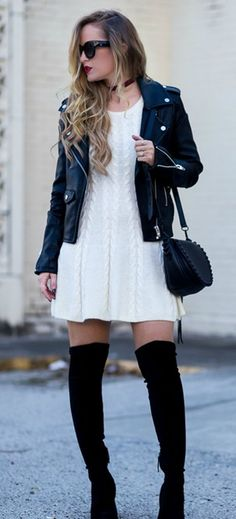 Awesome 61 Beautiful Winter Outfits Ideas With Black Leather Jacket. More at http://trendwear4you.com/2018/01/14/61-beautiful-winter-outfits-ideas-black-leather-jacket/