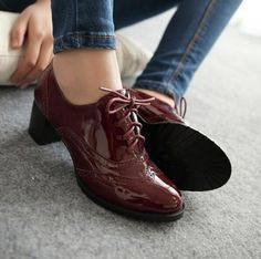Punk Lady Pu Leather Mid Block Heel Cut Out Oxfords Wing Tip Lace Up Shoes Pumps