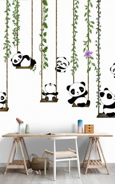 Items similar to Cartoon Panda Children's House Wall Kids Wallpaper Design Mural Paper on Etsy Simple Wall Paintings, Creative Wall Painting, Wall Painting Decor, Diy Wall Art, Wall Art Decor, Children's House, House Wall, Cartoon Panda, Cartoon Wall