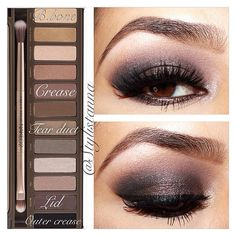 shadow placements using UD naked palette Dark eye makeup. Eye Makeup, Kiss Makeup, Hair Makeup, Night Makeup, Makeup Goals, Makeup Inspo, Makeup Inspiration, Makeup Ideas, Makeup Tutorials