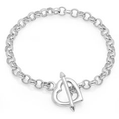 Sterling Essentials Silver 7.5-inch Arrow Heart Toggle Bracelet ($65) ❤ liked on Polyvore featuring jewelry, bracelets, white, silver heart charm, charm jewelry, silver chain jewelry, silver toggle bracelet and heart shaped charms