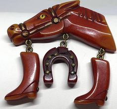 NikrosCollectibles bakelite horseshoe and horse pin