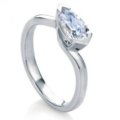 MaeVona White Gold Isay Engagement Ring - a unique solitaire where the pear shaped diamond is set horizontally to create a unique and modern look Pear Diamond Rings, Pear Shaped Diamond, Wedding Day, Wedding Rings, Shape Design, Jewelry Branding, Celtic, White Gold, Fancy