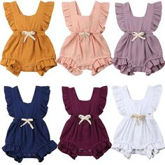 Toddler Infant Newborn Baby Girl Ruffle Rompers One-Pieces Clothes Vintage Baby Girl Summer Sleeveless Romper Jumpsuit Sunsuit Ruffle Romper, Baby Girl Romper, Baby Girl Newborn, Baby Boys, Baby Dress, Pink Dress, Ruffle Jumpsuit, Romper Dress, Baby Outfits