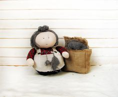 hand made doll Rag Doll Art Doll funny doll Home by AnnaDesigner, $49.00