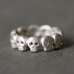 Banda de eternidad de cráneo de bebé anillo en plata UNISEX