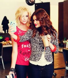 Ashley Benson (Hanna) and Lucy Hale (Aria) behind the scenes of Pretty Little Liars. #PLL