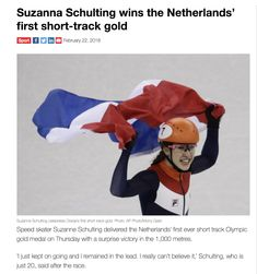"""""""Speed skater Suzanne Schulting delivered the Netherlands' first ever short track Olympic gold medal on Thursday with a surprise victory in the 1,000 metres. 'I just kept on going and I remained in the lead. I really can't believe it,' Schulting, who is just 20, said after the race."""" Reference: www.dutchnews.nl 🥇!!!!!!!!! 😎👍🏻💞🌍🌎🌏💞"""