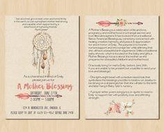 Dream Catcher Mother Blessing Invitation // Blessingway Invitation // Boho Mother Blessing Printable Invitation