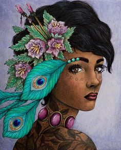 My peacock lady and my first dark skin ☺ #magiskgryning #magicaldawn #hannakarlzon #coloring #coloringbook #adultcoloringbook #adultcoloring #pencils #prismacolorpremier #prismacolor #drawing #face
