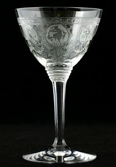 Heisey Crystal Pied Piper Liquor Cocktail Etched Elegant Glass Stem No. 439