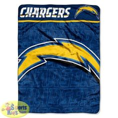 "Northwest NFL San Diego Chargers Micro-Raschel Plush Throw ""Livin Large"" Design"