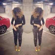 camouflage pants with a pop of yellow