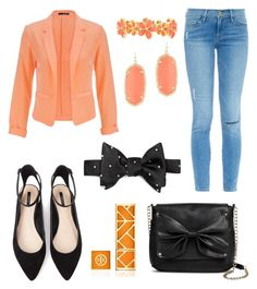 """""""Orange Blazer"""" by goycotwo ❤ liked on Polyvore featuring maurices, Frame Denim, Liz Claiborne, Forever 21, Sam & Libby, Kendra Scott, Brooks Brothers and Tory Burch"""